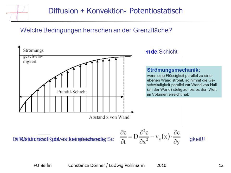 FU Berlin Constanze Donner / Ludwig Pohlmann 201012 Welche Bedingungen herrschen an der Grenzfläche? Diffusion + Konvektion- Potentiostatisch Zur Erin