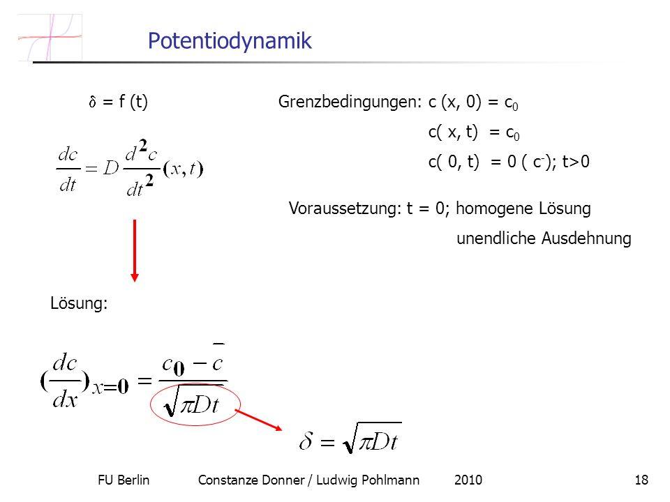 FU Berlin Constanze Donner / Ludwig Pohlmann 201018 Potentiodynamik = f (t) Grenzbedingungen: c (x, 0) = c 0 c( x, t) = c 0 c( 0, t) = 0 ( c - ); t>0 Voraussetzung: t = 0; homogene Lösung unendliche Ausdehnung Lösung: