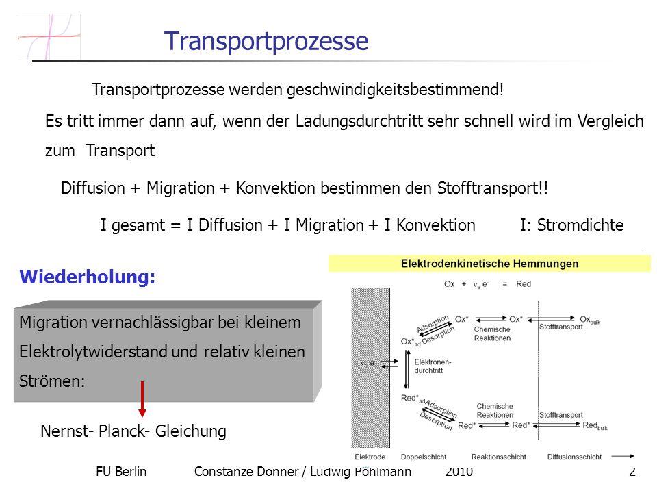 FU Berlin Constanze Donner / Ludwig Pohlmann 20102 Transportprozesse Diffusion + Migration + Konvektion bestimmen den Stofftransport!! Transportprozes
