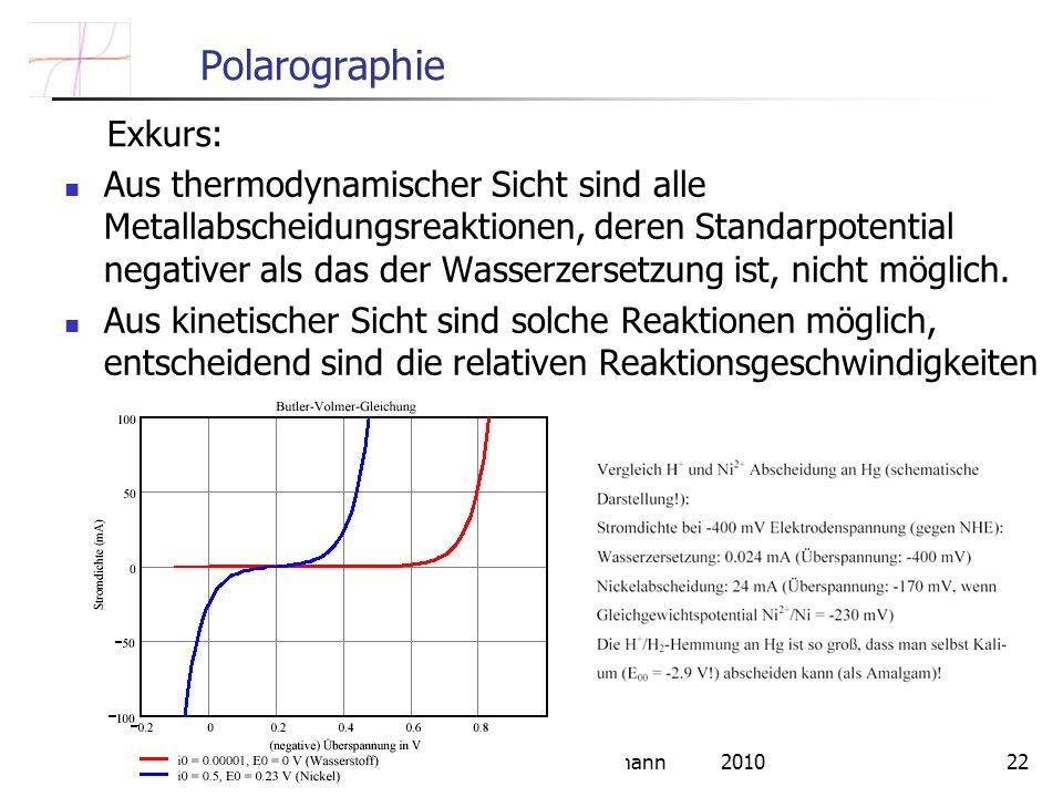 FU Berlin Constanze Donner / Ludwig Pohlmann 201022 Polarographie Aus thermodynamischer Sicht sind alle Metallabscheidungsreaktionen, deren Standarpotential negativer als das der Wasserzersetzung ist, nicht möglich.