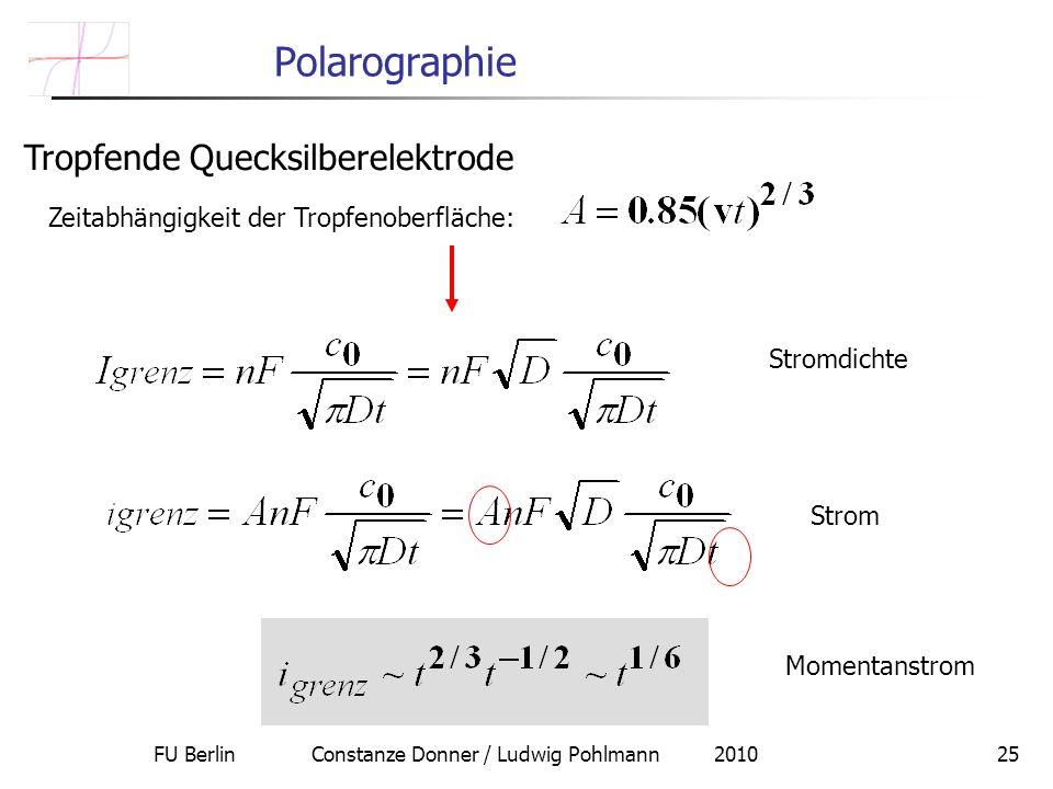 FU Berlin Constanze Donner / Ludwig Pohlmann 201025 Polarographie Tropfende Quecksilberelektrode Zeitabhängigkeit der Tropfenoberfläche: Stromdichte Strom Momentanstrom