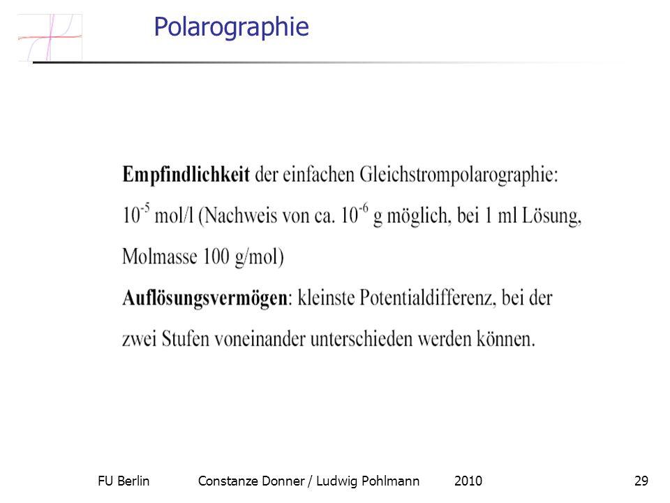 FU Berlin Constanze Donner / Ludwig Pohlmann 201029 Polarographie