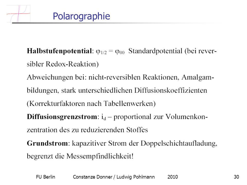 FU Berlin Constanze Donner / Ludwig Pohlmann 201030 Polarographie