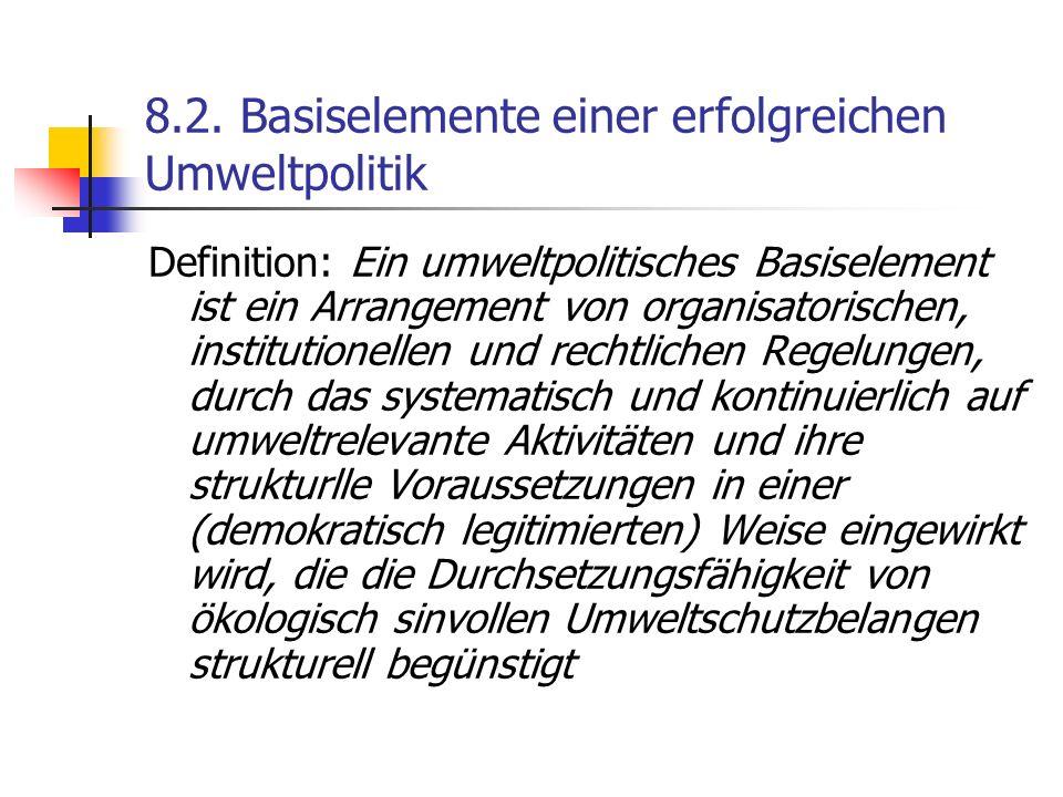 8.2. Basiselemente einer erfolgreichen Umweltpolitik Definition: Ein umweltpolitisches Basiselement ist ein Arrangement von organisatorischen, institu