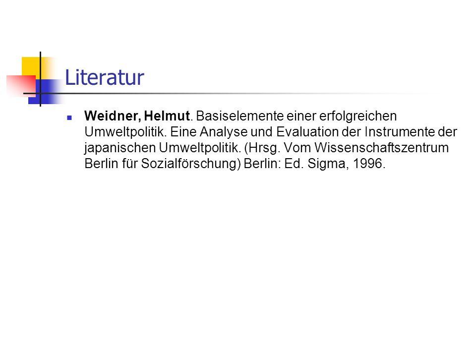 Literatur Weidner, Helmut. Basiselemente einer erfolgreichen Umweltpolitik. Eine Analyse und Evaluation der Instrumente der japanischen Umweltpolitik.