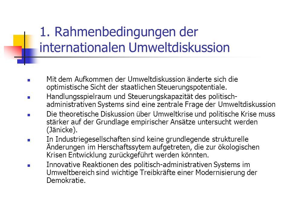 1. Rahmenbedingungen der internationalen Umweltdiskussion Mit dem Aufkommen der Umweltdiskussion änderte sich die optimistische Sicht der staatlichen