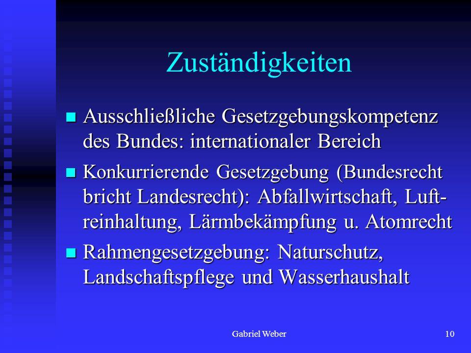 Gabriel Weber10 Zuständigkeiten Ausschließliche Gesetzgebungskompetenz des Bundes: internationaler Bereich Ausschließliche Gesetzgebungskompetenz des