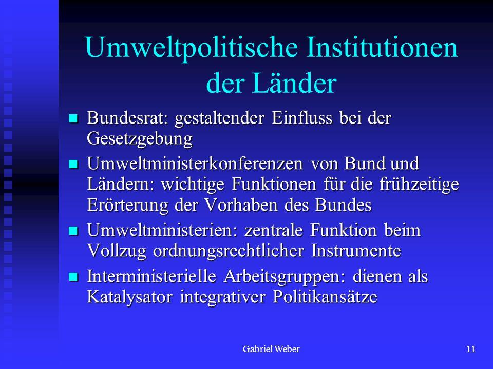 Gabriel Weber11 Umweltpolitische Institutionen der Länder Bundesrat: gestaltender Einfluss bei der Gesetzgebung Bundesrat: gestaltender Einfluss bei d