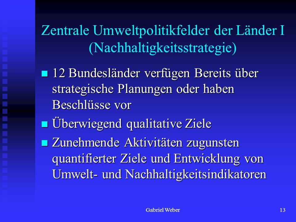 Gabriel Weber13 Zentrale Umweltpolitikfelder der Länder I (Nachhaltigkeitsstrategie) 12 Bundesländer verfügen Bereits über strategische Planungen oder