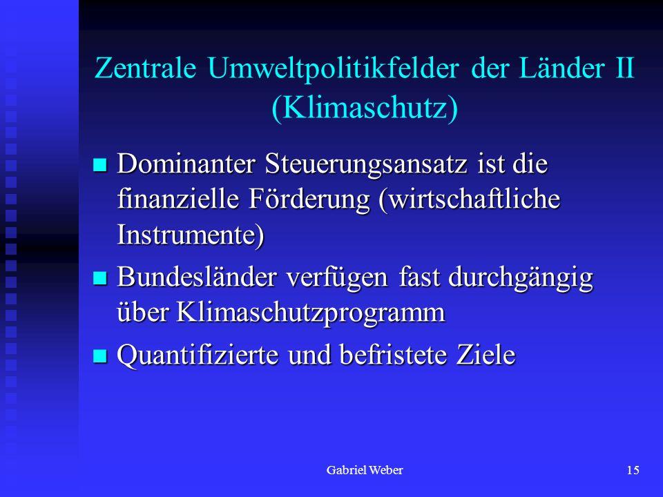 Gabriel Weber15 Zentrale Umweltpolitikfelder der Länder II (Klimaschutz) Dominanter Steuerungsansatz ist die finanzielle Förderung (wirtschaftliche In