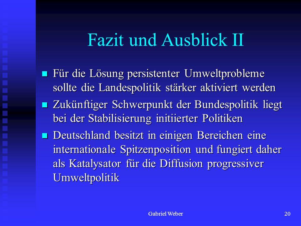 Gabriel Weber20 Fazit und Ausblick II Für die Lösung persistenter Umweltprobleme sollte die Landespolitik stärker aktiviert werden Für die Lösung pers