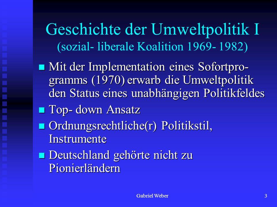 Gabriel Weber4 Geschichte der Umweltpolitik II (konservativ- liberale Koalition 1982- 1998) Starke Ausweitung der umweltpolitischen Kapazitäten führt zu internationalen Spitzenreiterposition (1987- 1992) Starke Ausweitung der umweltpolitischen Kapazitäten führt zu internationalen Spitzenreiterposition (1987- 1992) Ausgeprägter Abwärtstrend nach 1994 Ausgeprägter Abwärtstrend nach 1994 Deutschland in einigen Bereichen Vorreiter (Klimaschutz) und in anderen Bereichen Nachzügler (Umsetzung der Agenda 21) Deutschland in einigen Bereichen Vorreiter (Klimaschutz) und in anderen Bereichen Nachzügler (Umsetzung der Agenda 21)