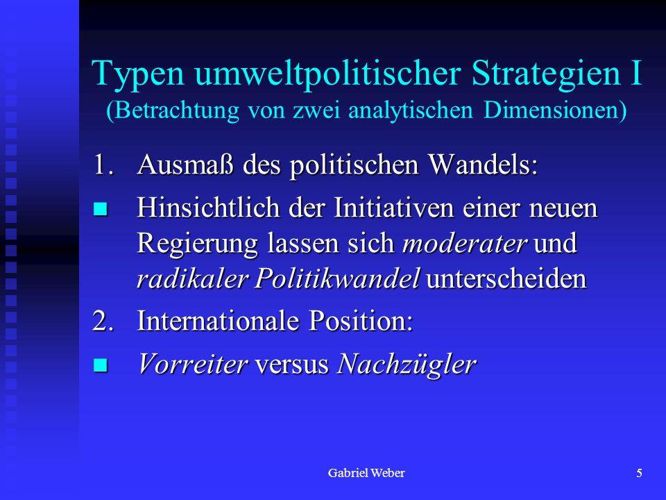 Gabriel Weber5 Typen umweltpolitischer Strategien I (Betrachtung von zwei analytischen Dimensionen) 1. Ausmaß des politischen Wandels: Hinsichtlich de