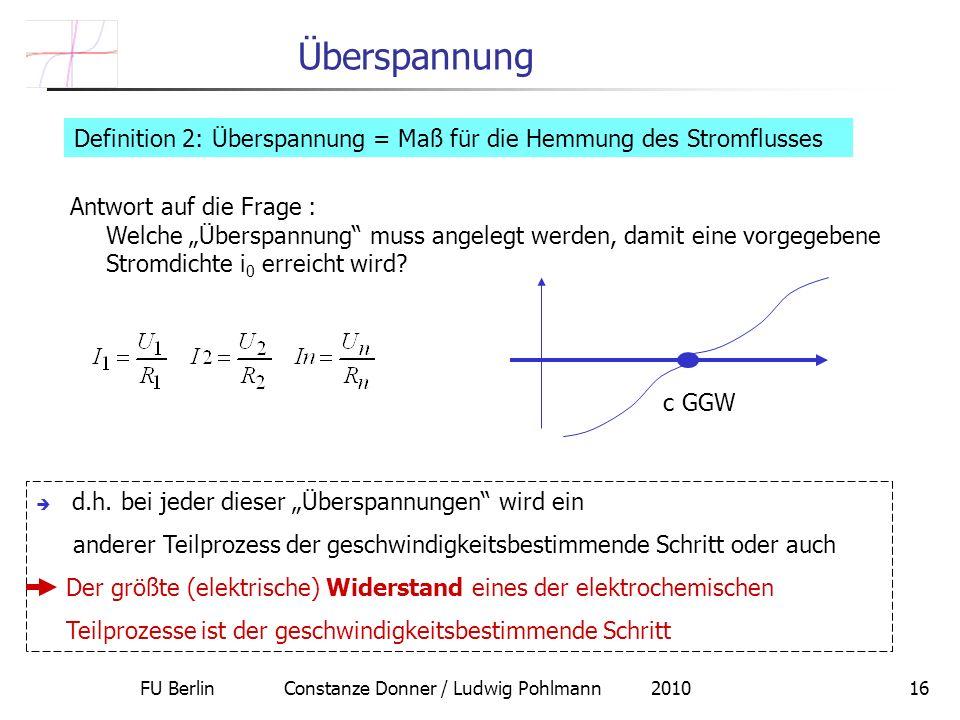 FU Berlin Constanze Donner / Ludwig Pohlmann 201016 Überspannung Definition 2: Überspannung = Maß für die Hemmung des Stromflusses Antwort auf die Frage : Welche Überspannung muss angelegt werden, damit eine vorgegebene Stromdichte i 0 erreicht wird.