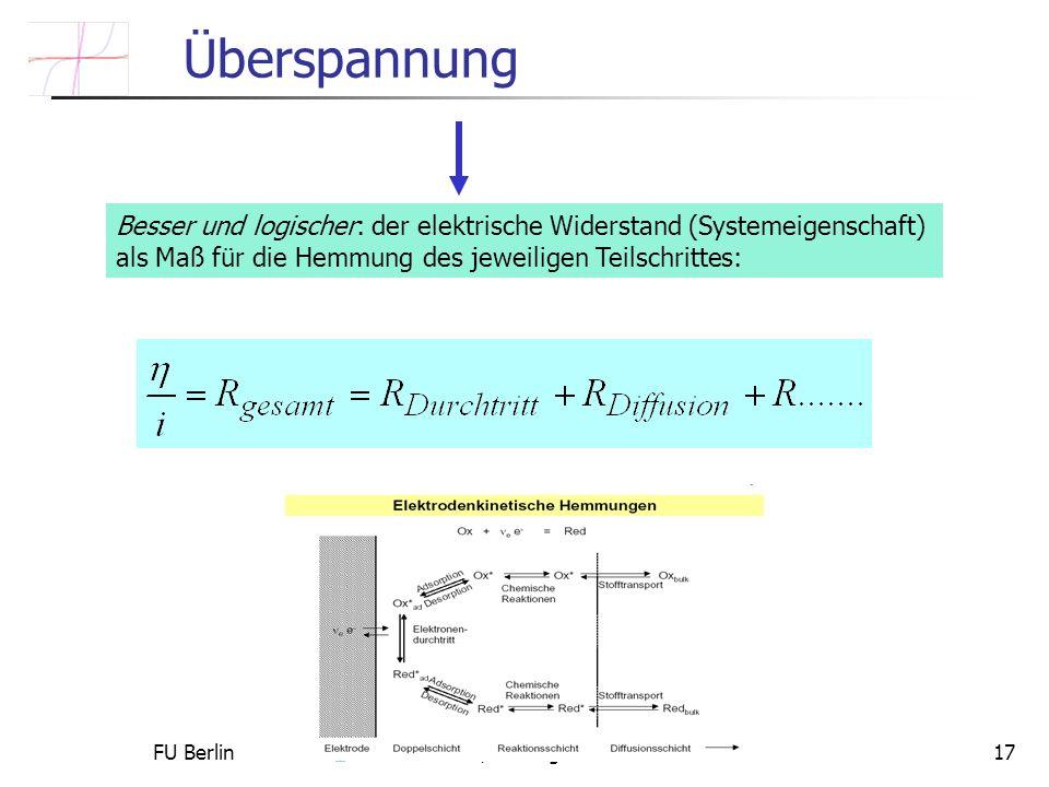FU Berlin Constanze Donner / Ludwig Pohlmann 201017 Überspannung Besser und logischer: der elektrische Widerstand (Systemeigenschaft) als Maß für die Hemmung des jeweiligen Teilschrittes: