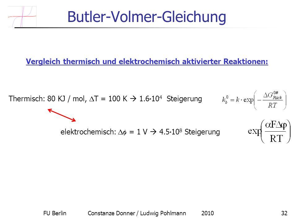 FU Berlin Constanze Donner / Ludwig Pohlmann 201032 Butler-Volmer-Gleichung Vergleich thermisch und elektrochemisch aktivierter Reaktionen: Thermisch: 80 KJ / mol, T = 100 K 1.6 10 4 Steigerung elektrochemisch: = 1 V 4.5 10 8 Steigerung