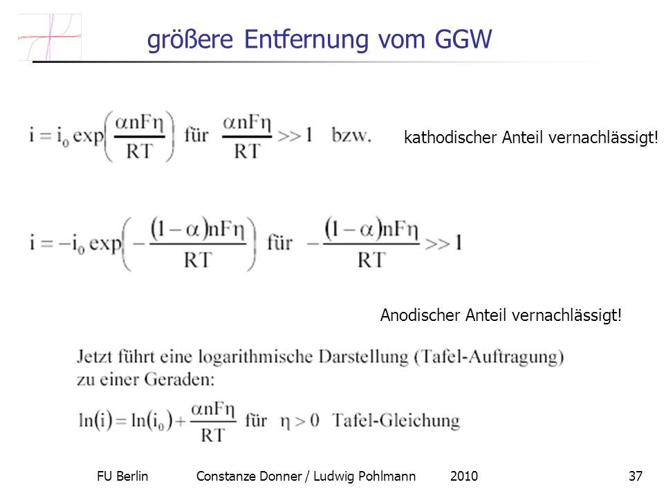 FU Berlin Constanze Donner / Ludwig Pohlmann 201037 größere Entfernung vom GGW kathodischer Anteil vernachlässigt! Anodischer Anteil vernachlässigt!