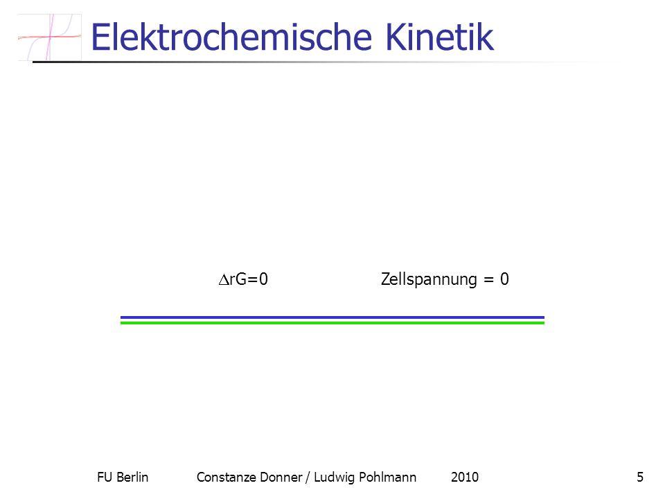 FU Berlin Constanze Donner / Ludwig Pohlmann 20105 Elektrochemische Kinetik rG=0 Zellspannung = 0