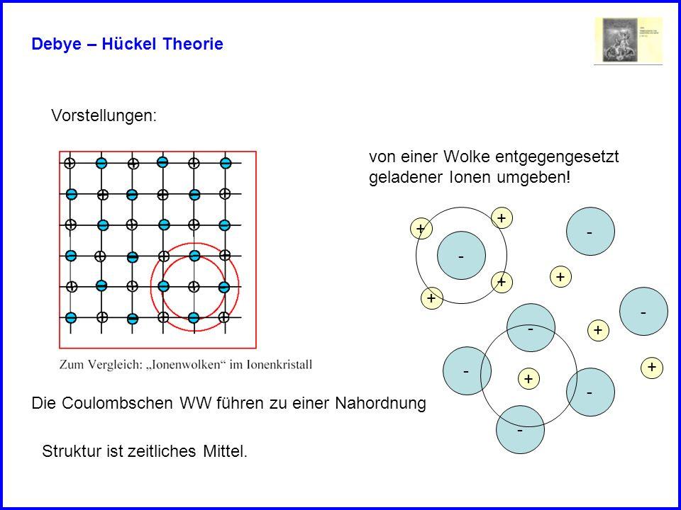 Debye – Hückel Theorie Vorstellungen: von einer Wolke entgegengesetzt geladener Ionen umgeben! - - - - - - - + + + + + + + + Die Coulombschen WW führe