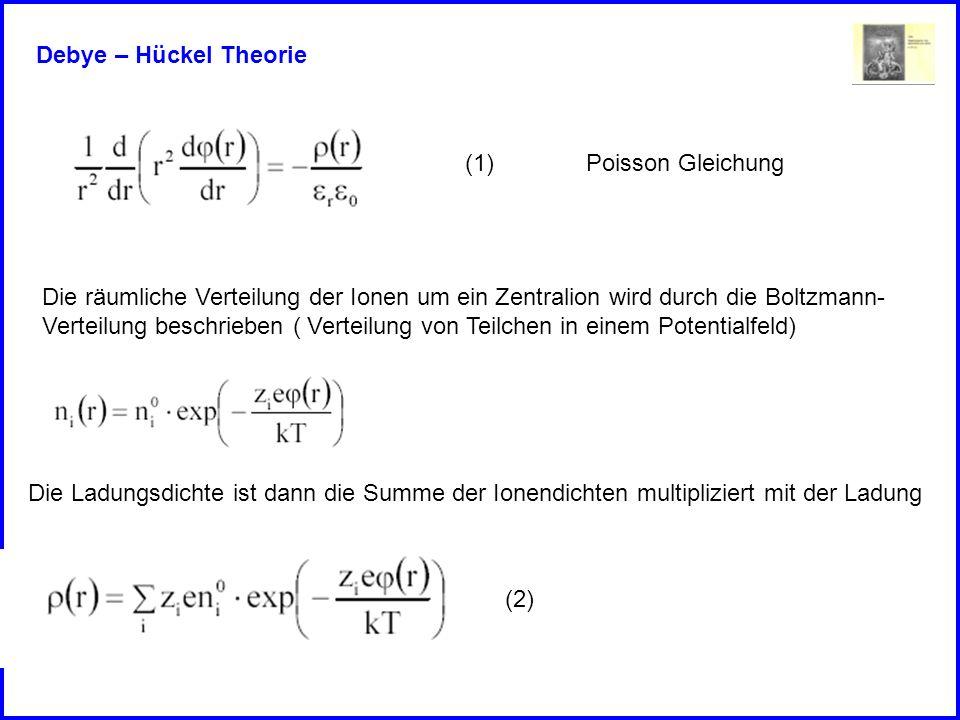 Debye – Hückel Theorie Die räumliche Verteilung der Ionen um ein Zentralion wird durch die Boltzmann- Verteilung beschrieben ( Verteilung von Teilchen