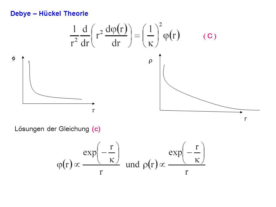 Debye – Hückel Theorie r r Lösungen der Gleichung (c) C