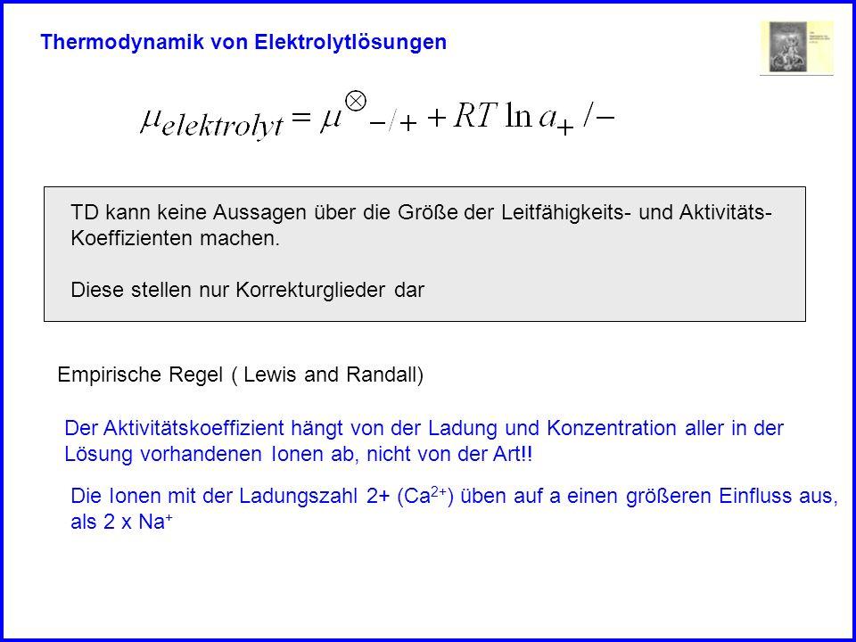 Thermodynamik von Elektrolytlösungen Empirische Regel ( Lewis and Randall) Der Aktivitätskoeffizient hängt von der Ladung und Konzentration aller in der Lösung vorhandenen Ionen ab, nicht von der Art!.