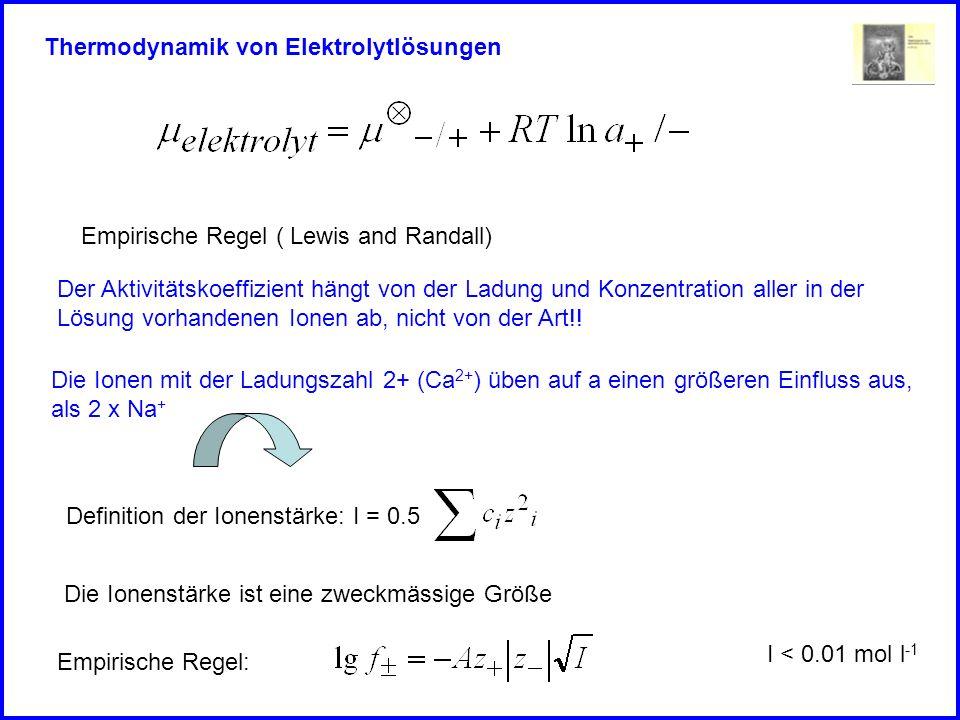 Thermodynamik von Elektrolytlösungen Empirische Regel ( Lewis and Randall) Definition der Ionenstärke: I = 0.5 Die Ionenstärke ist eine zweckmässige Größe, weil Empirische Regel:I < 0.01 mol l -1 -lgf I 1/2 1-3 1-2 1-1 Abweichung vom idealen Verhalten Debye Hückel Grenzgesetz