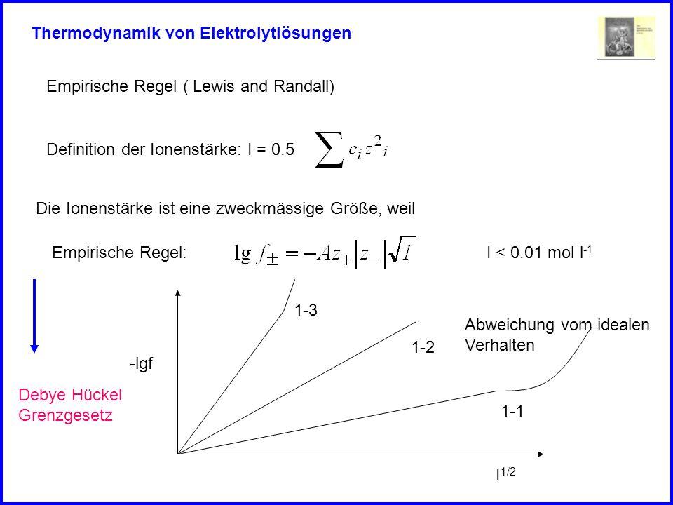 Thermodynamik von Elektrolytlösungen Empirische Regel ( Lewis and Randall) Definition der Ionenstärke: I = 0.5 Die Ionenstärke ist eine zweckmässige G