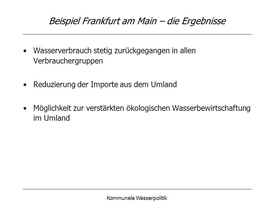 Kommunale Wasserpolitik Beispiel Frankfurt am Main – die Ergebnisse Wasserverbrauch stetig zurückgegangen in allen Verbrauchergruppen Reduzierung der Importe aus dem Umland Möglichkeit zur verstärkten ökologischen Wasserbewirtschaftung im Umland