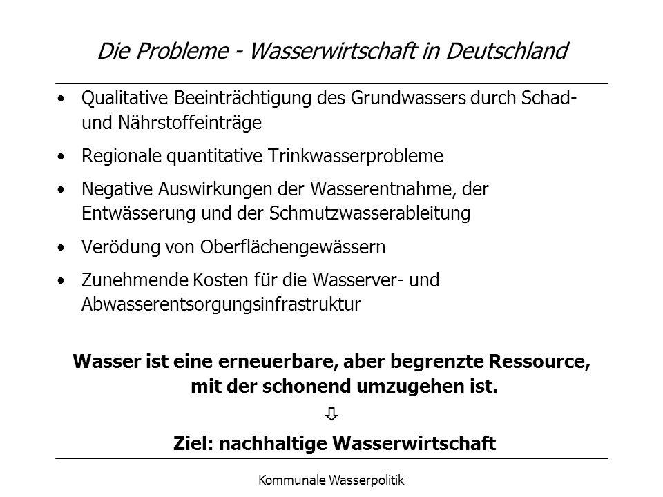 Kommunale Wasserpolitik Die Probleme - Wasserwirtschaft in Deutschland Qualitative Beeinträchtigung des Grundwassers durch Schad- und Nährstoffeinträg