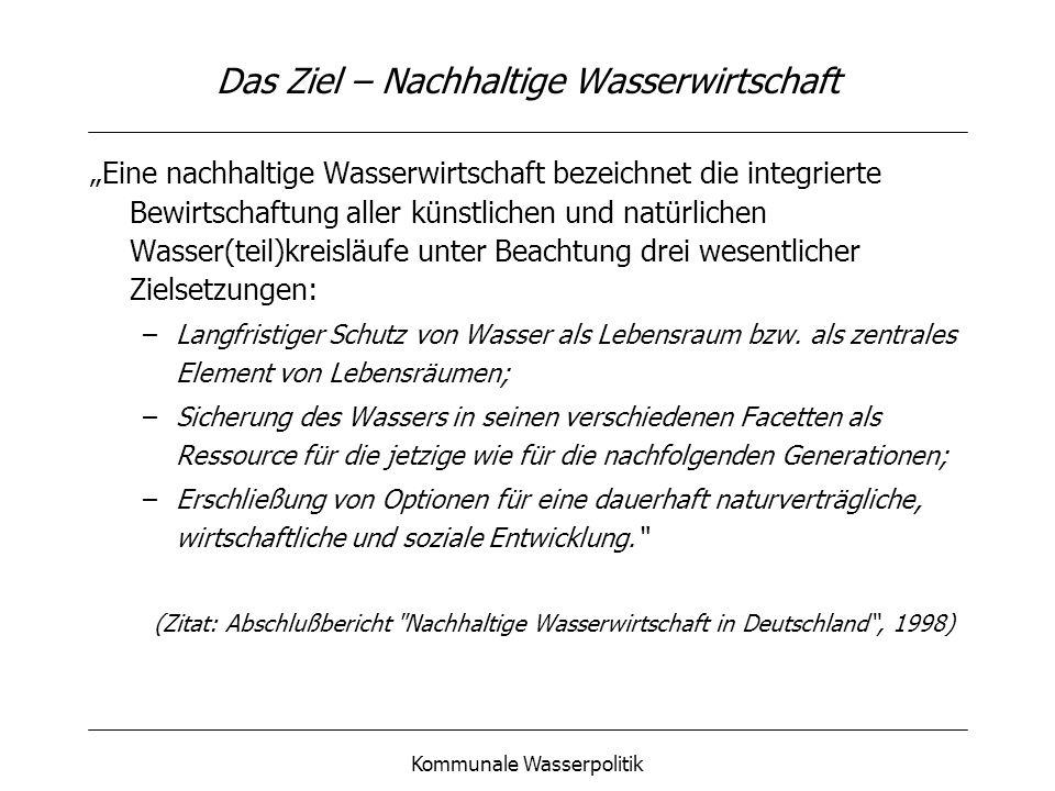 Kommunale Wasserpolitik Beispiel Frankfurt am Main – die Ausgangssituation nur ¼ des Trinkwasserbedarfs innerhalb der Stadtgrenzen abdeckbar Grundwasser innerhalb des Stadtgebietes zunehmend beeinträchtigt Steigender Wasserimport aus dem Umland (Hessisches Ried und Vogelsberggebiet) Ökologische Folgen, Stadt-Umland-Konflikt