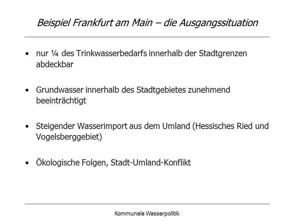 Kommunale Wasserpolitik Beispiel Frankfurt am Main – die Ziele Konzept zur rationellen Wasserverwendung: Schutz des innerstädtischen Grundwasservorkommens Reduzierung des Wasserbrauches Differenzierte Wassernutzung