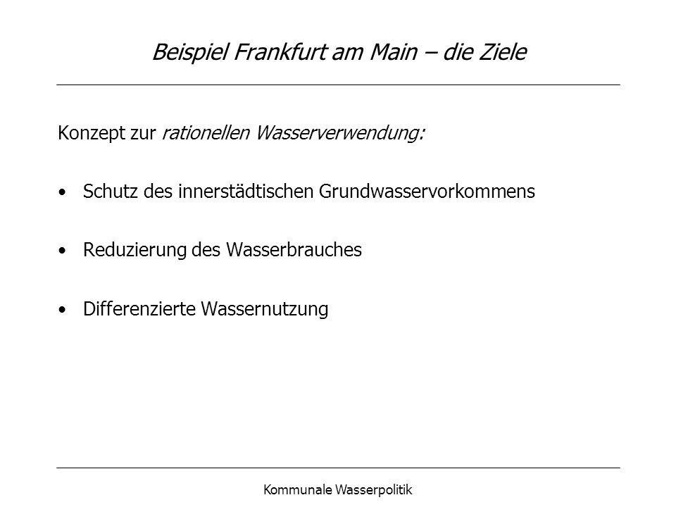 Kommunale Wasserpolitik Beispiel Frankfurt am Main – die Ziele Konzept zur rationellen Wasserverwendung: Schutz des innerstädtischen Grundwasservorkom