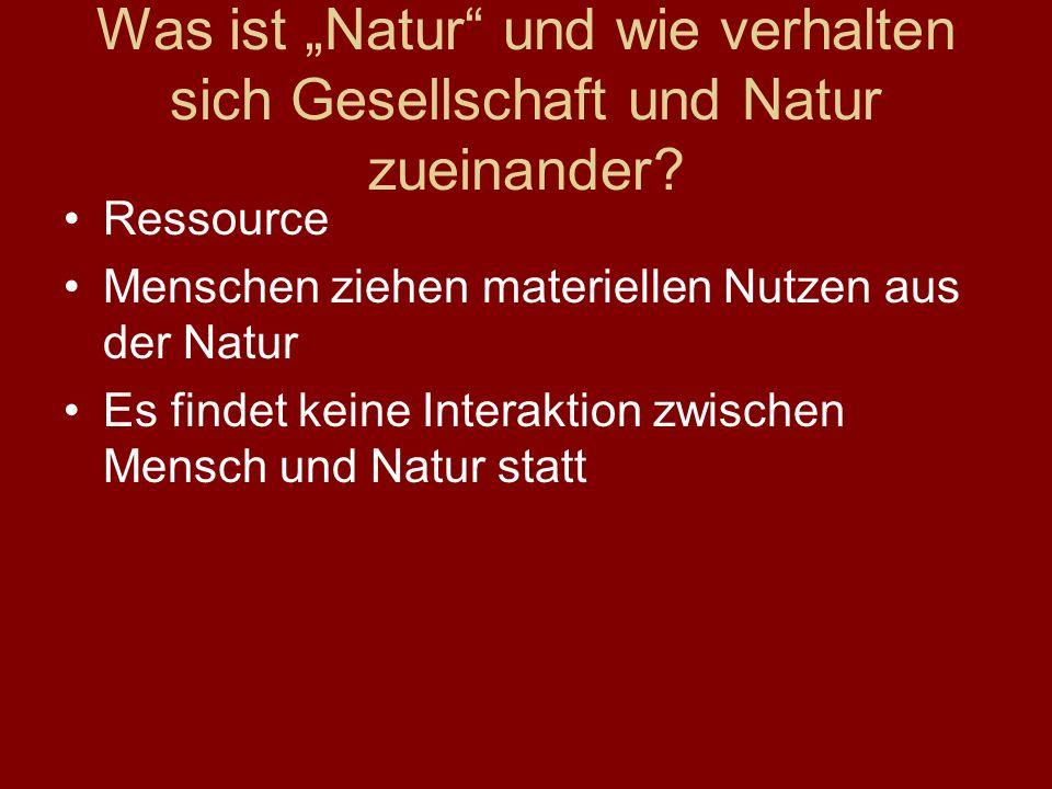 Was ist Natur und wie verhalten sich Gesellschaft und Natur zueinander.