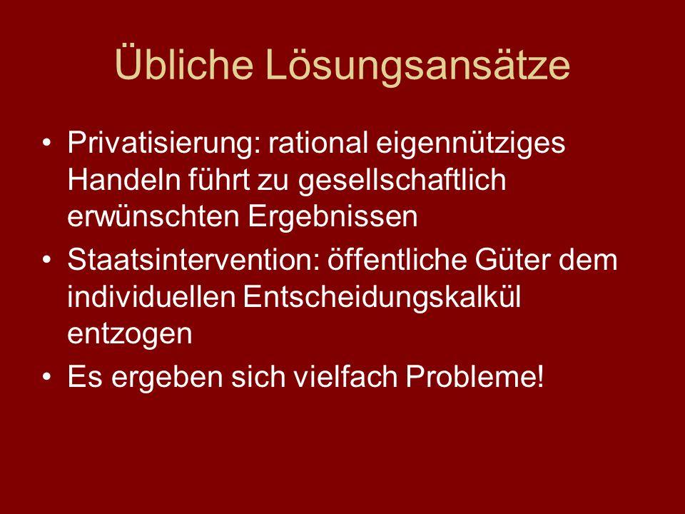 Übliche Lösungsansätze Privatisierung: rational eigennütziges Handeln führt zu gesellschaftlich erwünschten Ergebnissen Staatsintervention: öffentliche Güter dem individuellen Entscheidungskalkül entzogen Es ergeben sich vielfach Probleme!
