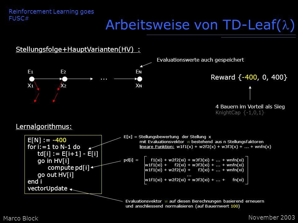 E[x] = Stellungsbewertung der Stellung x mit Evaluationsvektor w bestehend aus n Stellungsfaktoren lineare Funktion: w1f1(x) + w2f2(x) + w3f3(x) +...