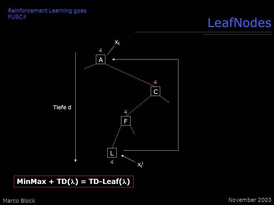Marco Block LeafNodes A 4 C 4 F 4 L 4 Tiefe d xtlxtl xtxt MinMax + TD() = TD-Leaf() Reinforcement Learning goes FUSC# November 2003