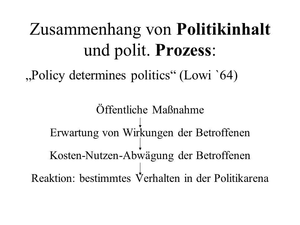 Die Politikarena Kampfplatz oder Umfeld, in dem Politikinhalt durchgesetzt und durchgeführt werden muss –Formation der politischen Akteure ? –Konflikt