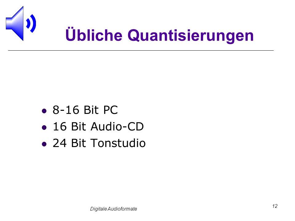 Digitale Audioformate 12 Übliche Quantisierungen 8-16 Bit PC 16 Bit Audio-CD 24 Bit Tonstudio