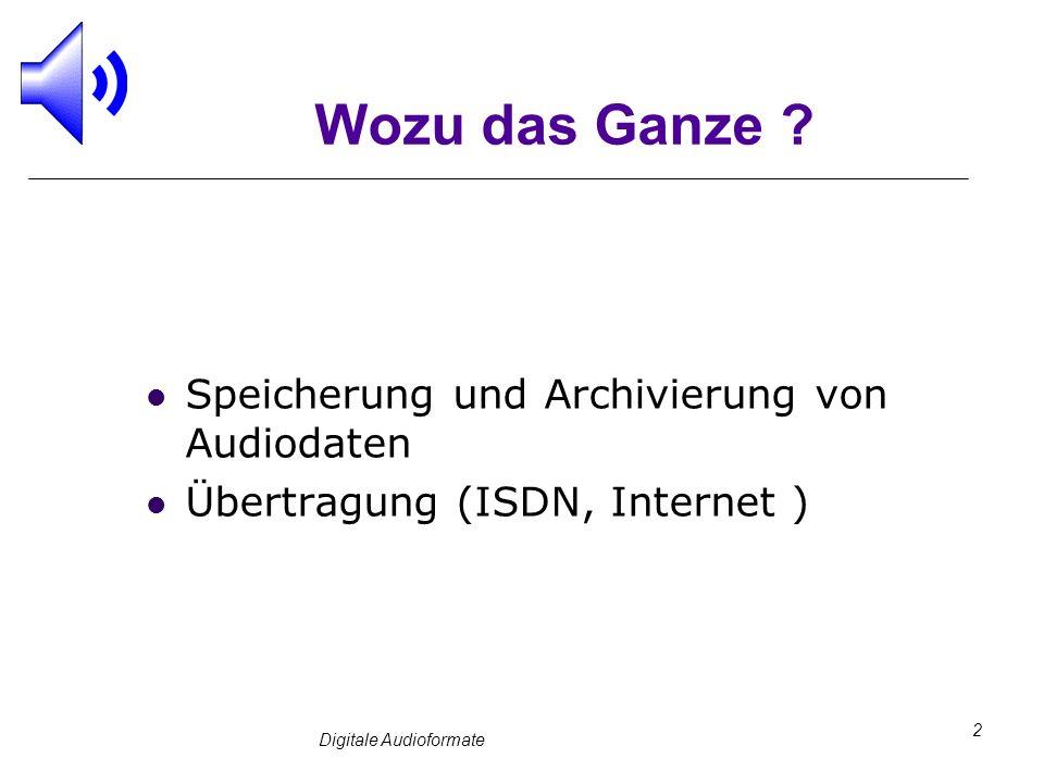 Digitale Audioformate 2 Wozu das Ganze ? Speicherung und Archivierung von Audiodaten Übertragung (ISDN, Internet )