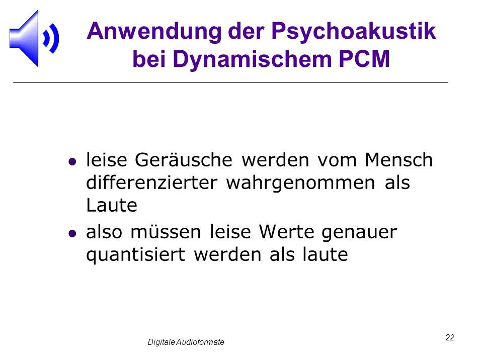 Digitale Audioformate 22 Anwendung der Psychoakustik bei Dynamischem PCM leise Geräusche werden vom Mensch differenzierter wahrgenommen als Laute also