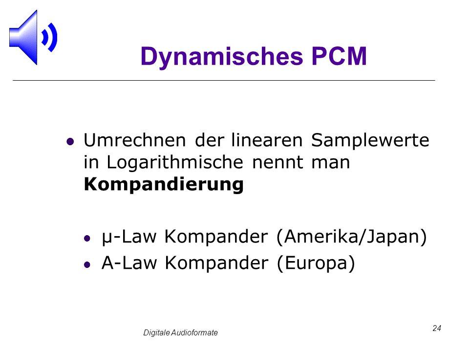 Digitale Audioformate 24 Dynamisches PCM Umrechnen der linearen Samplewerte in Logarithmische nennt man Kompandierung µ-Law Kompander (Amerika/Japan)