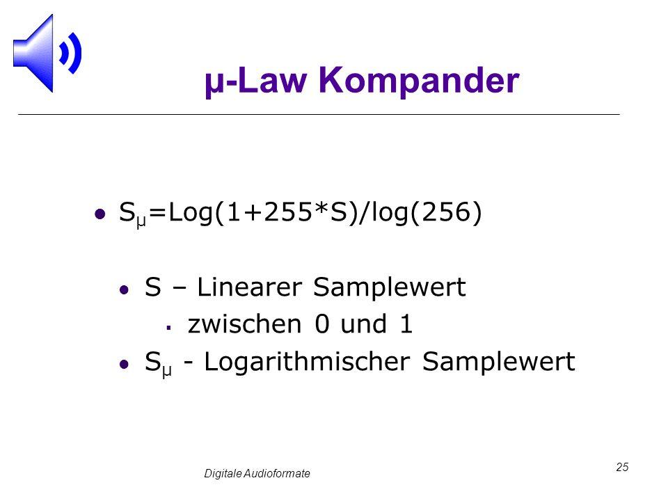 Digitale Audioformate 25 µ-Law Kompander S µ =Log(1+255*S)/log(256) S – Linearer Samplewert zwischen 0 und 1 S µ - Logarithmischer Samplewert