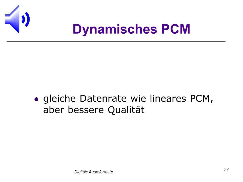 Digitale Audioformate 27 Dynamisches PCM gleiche Datenrate wie lineares PCM, aber bessere Qualität
