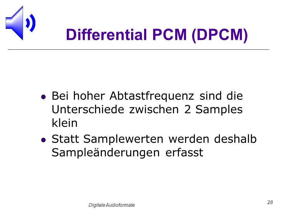 Digitale Audioformate 28 Differential PCM (DPCM) Bei hoher Abtastfrequenz sind die Unterschiede zwischen 2 Samples klein Statt Samplewerten werden des
