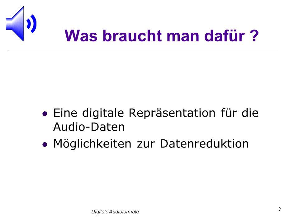 Digitale Audioformate 3 Was braucht man dafür ? Eine digitale Repräsentation für die Audio-Daten Möglichkeiten zur Datenreduktion