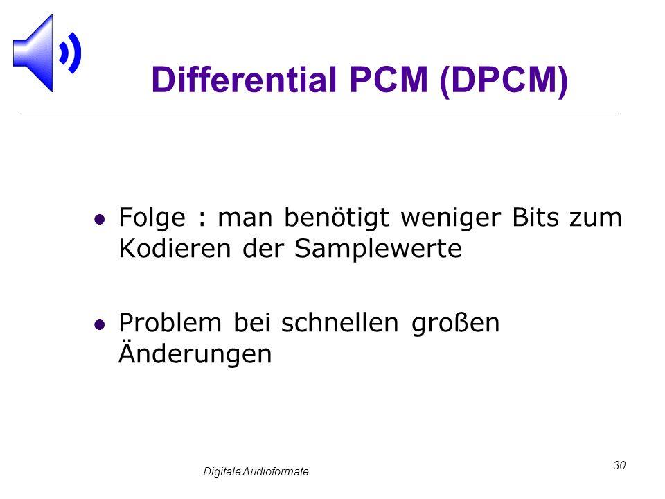 Digitale Audioformate 30 Differential PCM (DPCM) Folge : man benötigt weniger Bits zum Kodieren der Samplewerte Problem bei schnellen großen Änderunge