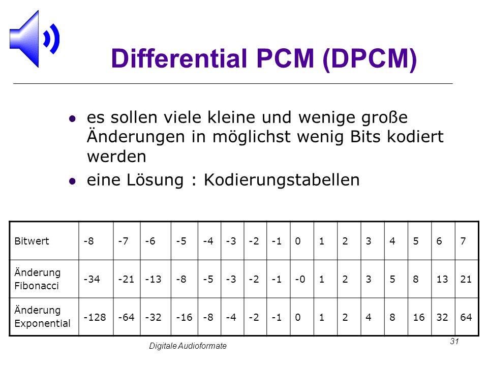 Digitale Audioformate 31 Differential PCM (DPCM) es sollen viele kleine und wenige große Änderungen in möglichst wenig Bits kodiert werden eine Lösung