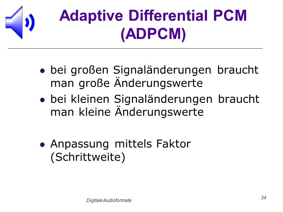 Digitale Audioformate 34 Adaptive Differential PCM (ADPCM) bei großen Signaländerungen braucht man große Änderungswerte bei kleinen Signaländerungen b