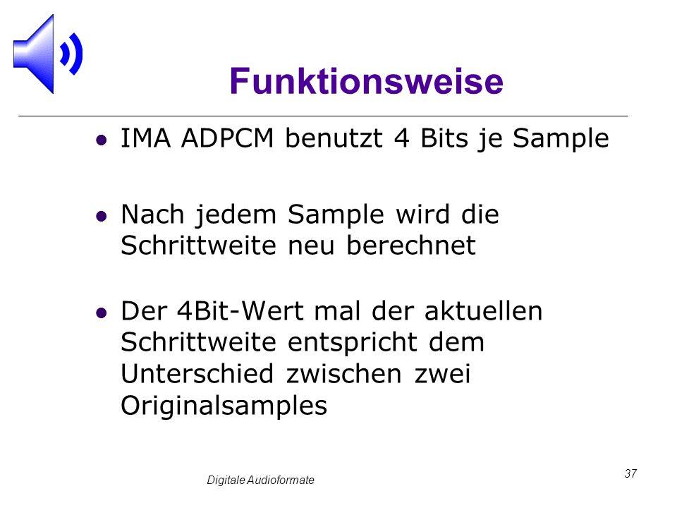 Digitale Audioformate 37 Funktionsweise IMA ADPCM benutzt 4 Bits je Sample Nach jedem Sample wird die Schrittweite neu berechnet Der 4Bit-Wert mal der